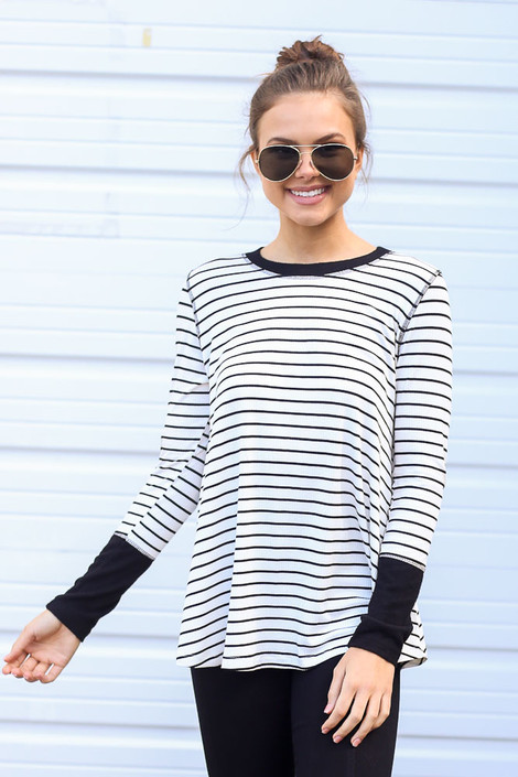 Striped Ribbed Knit Top Front View