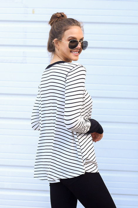 White - Striped Ribbed Knit Top Side View