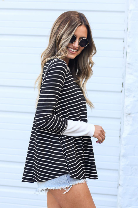 Black - Striped Ribbed Knit Top in Black Side View