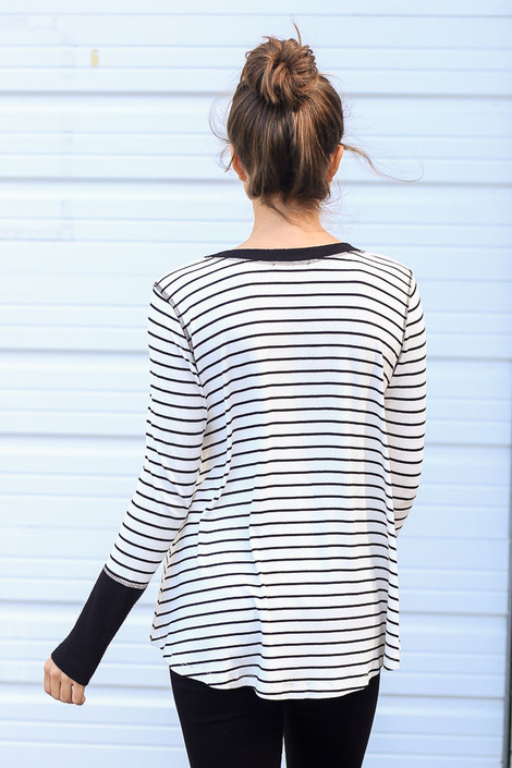 Striped Ribbed Knit Top in White Back View