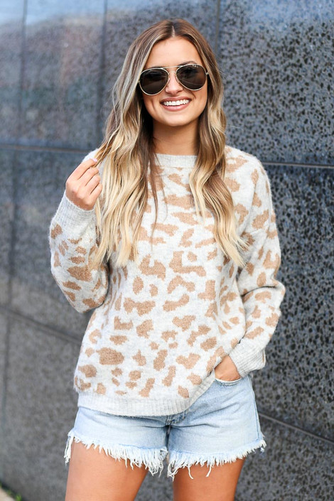 Grey - Leopard Brushed Knit Sweater from Dress Up