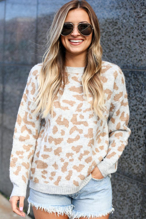 Grey - Leopard Brushed Knit Sweater