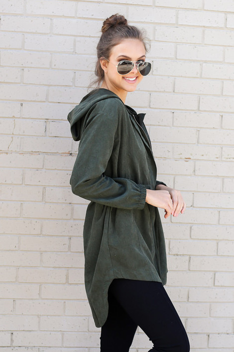 Cargo Utility Jacket in Olive Side View