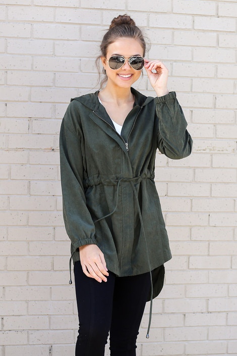 Dress Up model wearing the Cargo Utility Jacket in Olive