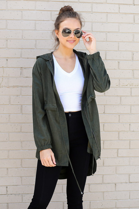 Model wearing the Cargo Utility Jacket in Olive