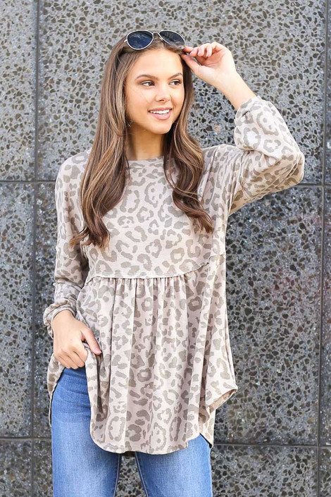 Taupe - Leopard Balloon Sleeve Babydoll Tunic from Dress Up