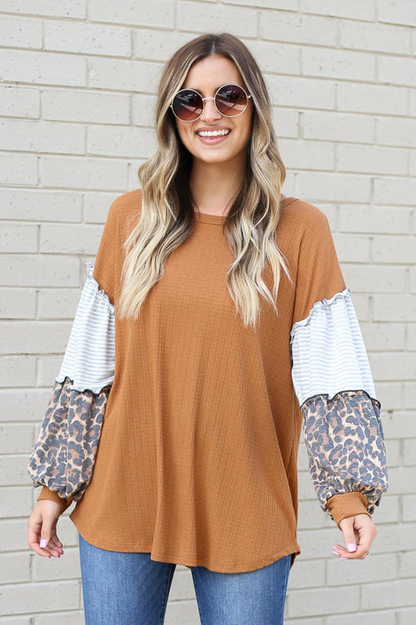 Camel - Statement Sleeve Ribbed Knit Top