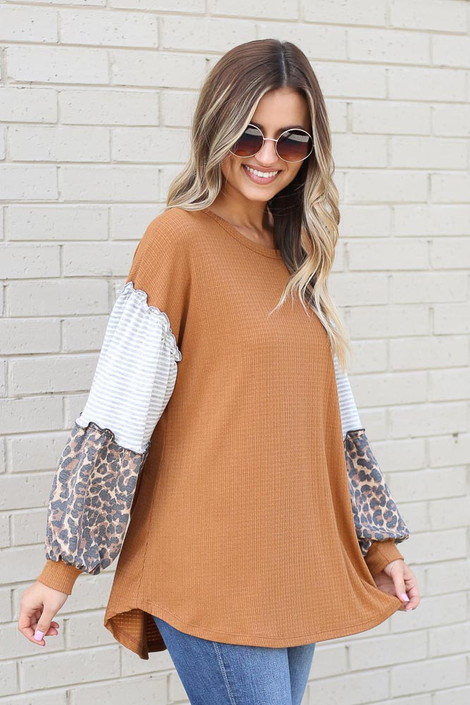 Camel - Statement Sleeve Ribbed Knit Top Side View
