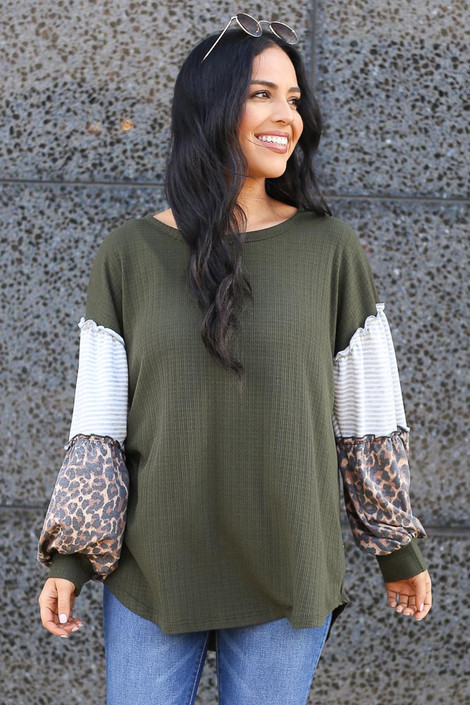 Olive - Statement Sleeve Ribbed Knit Top from Dress Up