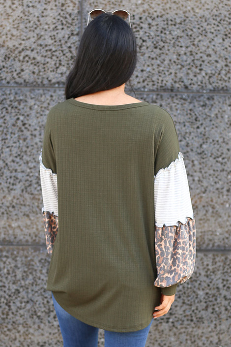 Olive - Statement Sleeve Ribbed Knit Top Back View