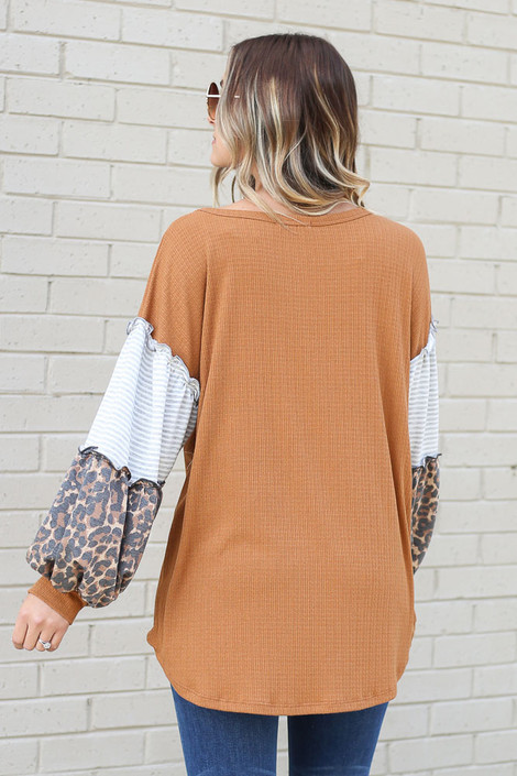 Statement Sleeve Ribbed Knit Top in Camel Back View