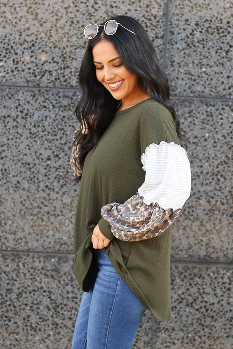 Statement Sleeve Ribbed Knit Top in Olive Side View