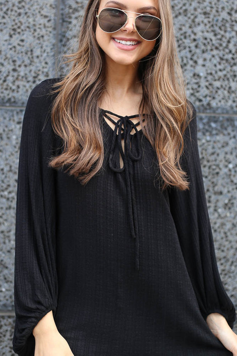 Black - Tie Front Balloon Sleeve Ribbed Knit Tunic