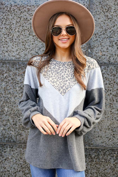 Model wearing the Color Block Brushed Knit Pullover with Wide Brim Fedora from Dress Up Front View