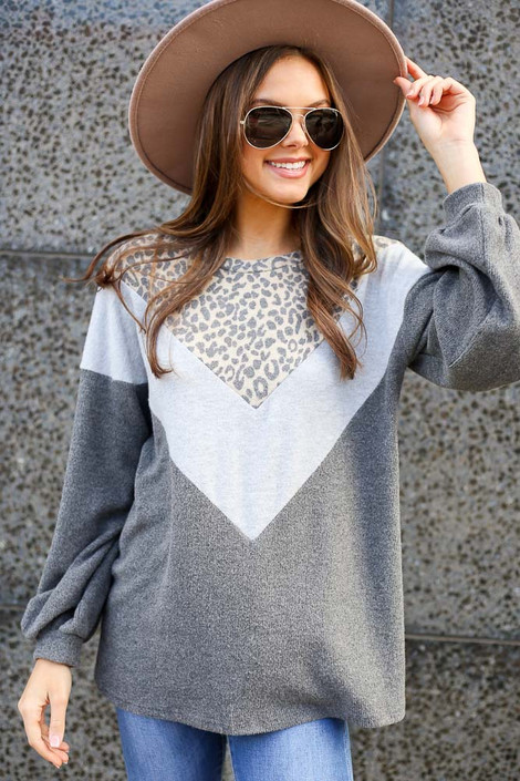 Model wearing the Color Block Brushed Knit Pullover with Wide Brim Fedora and High Rise Jeans from Dress Up Front View