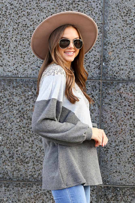 Model wearing the Color Block Brushed Knit Pullover Side View