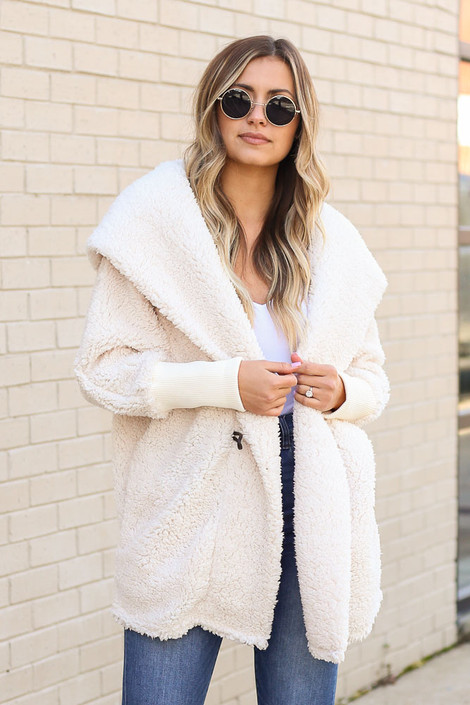 Ivory - Hooded Sherpa Teddy Jacket