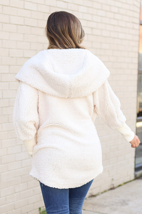 Ivory - Hooded Sherpa Teddy Jacket Back View