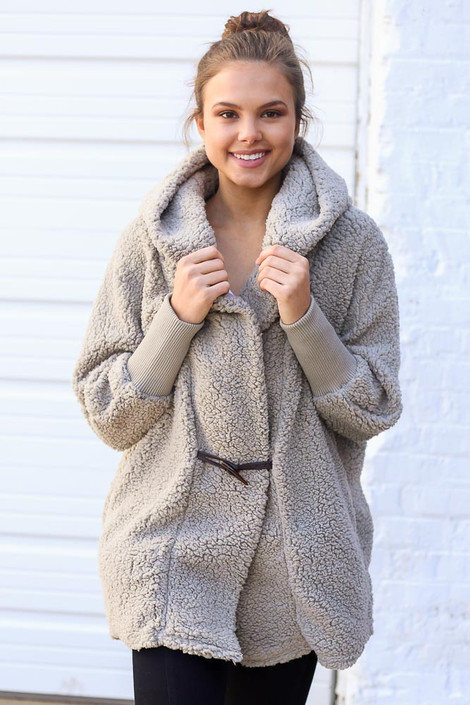 Grey - Hooded Sherpa Teddy Jacket from Dress Up