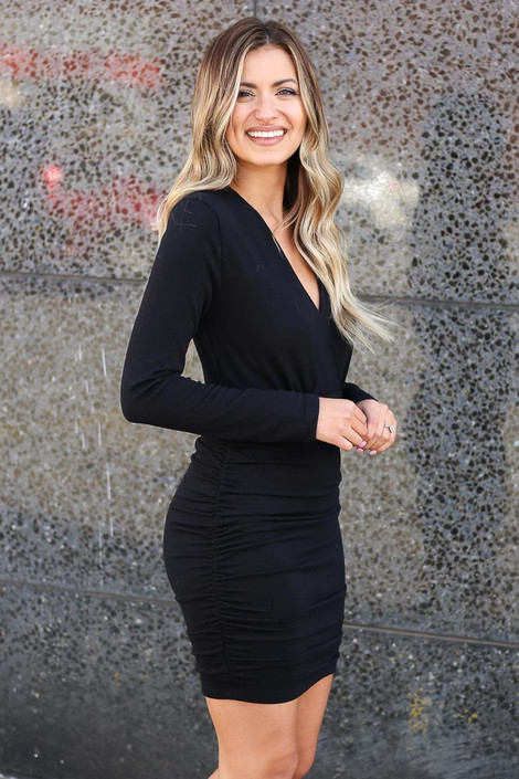 Black - Soft Knit Bodycon Mini Dress Side View