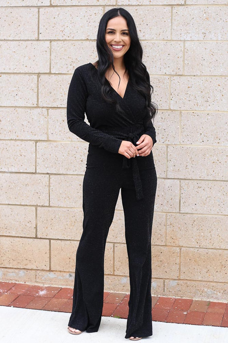 Black - Glitter Knit Jumpsuit from Dress Up