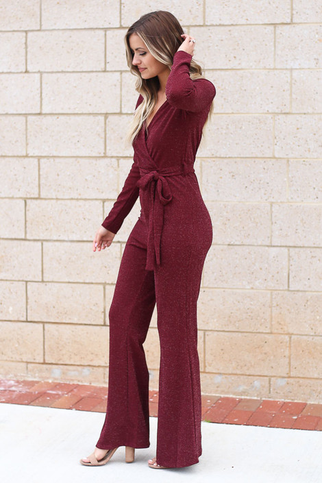 Glitter Knit Jumpsuit in Burgundy Side View