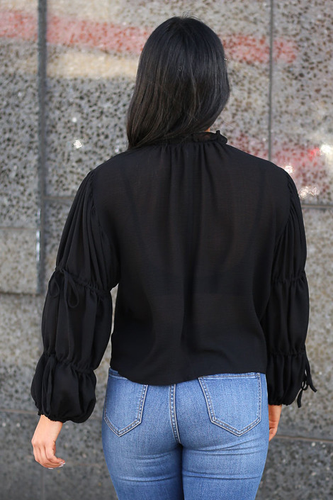 Puff Sleeve Blouse in Black Back View