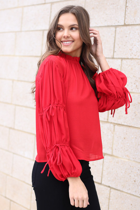 Red - Puff Sleeve Blouse from Dress Up