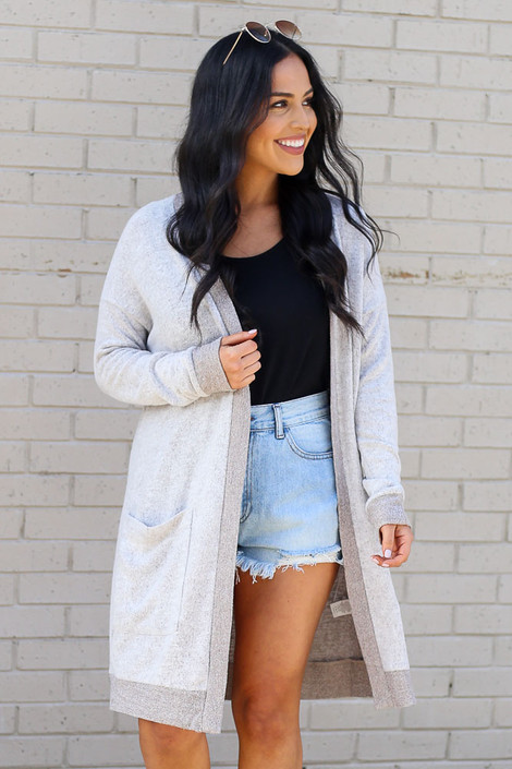 Taupe - Model wearing the Brushed Knit Longline Cardigan