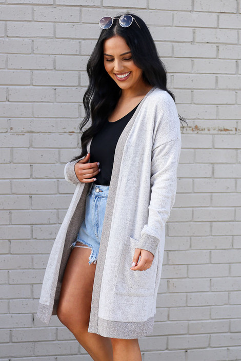 Taupe - Brushed Knit Longline Cardigan Side View