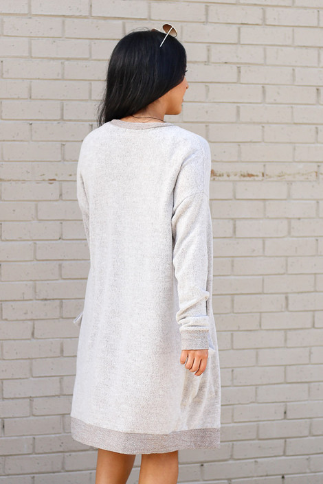 Brushed Knit Longline Cardigan in Taupe Back View