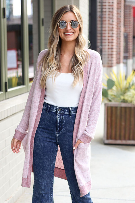 Dress Up model wearing the Brushed Knit Longline Cardigan in Burgundy