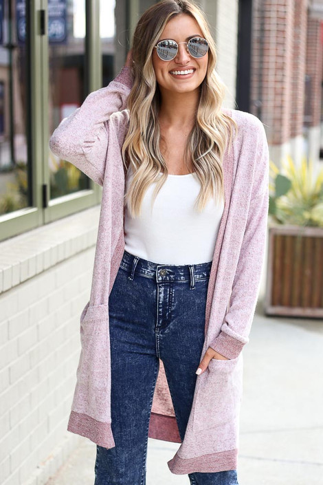 Burgundy - Brushed Knit Longline Cardigan