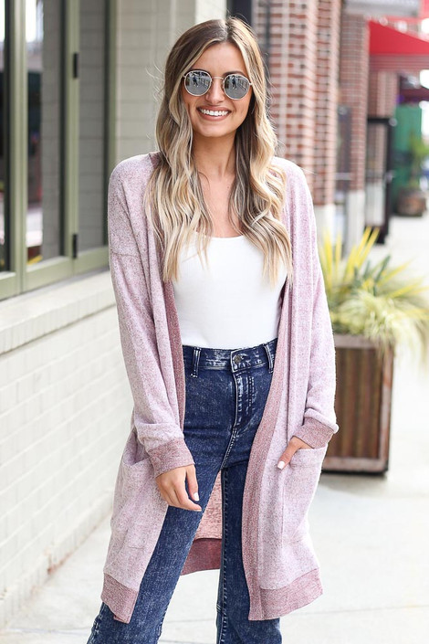 Brushed Knit Longline Cardigan in Burgundy Front View