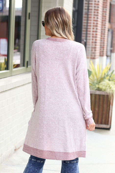 Brushed Knit Longline Cardigan in Burgundy Back View