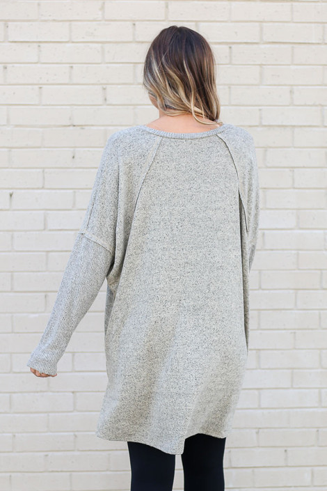Oversized Brushed Knit Pullover Back View