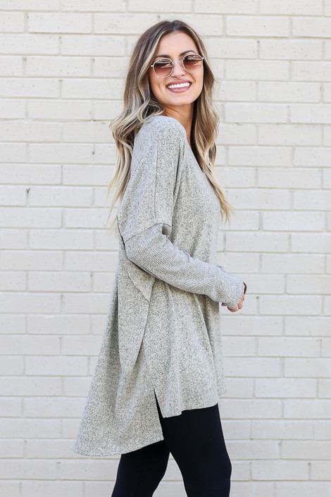 Oversized Brushed Knit Pullover in Taupe Side View