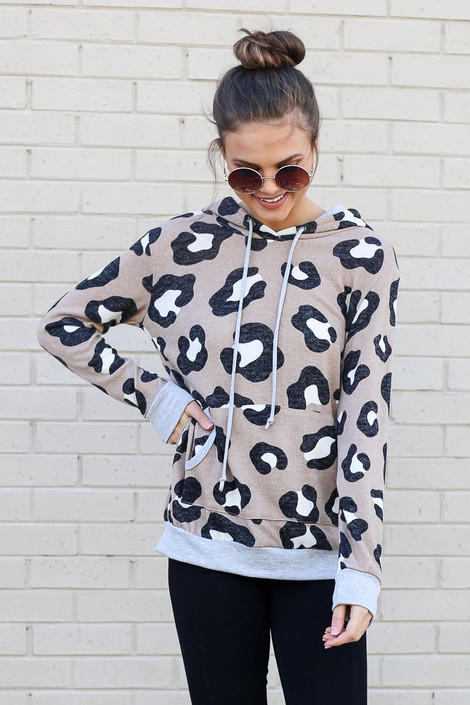 Dress Up model wearing the Leopard Brushed Knit Hoodie