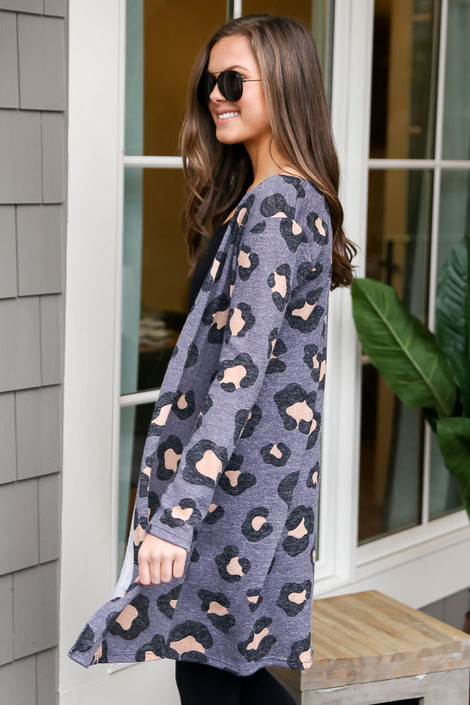 Leopard Brushed Knit Longline Cardigan in Charcoal Side View