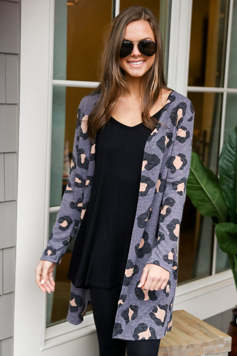 Charcoal - Leopard Brushed Knit Longline Cardigan