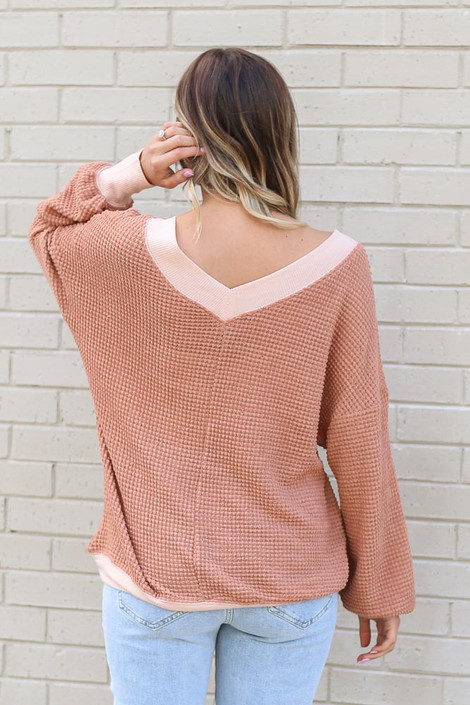 Oversized Waffle Knit Contrast Top Back View
