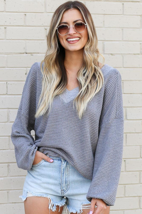 Grey - Oversized Waffle Knit Contrast Top Front View