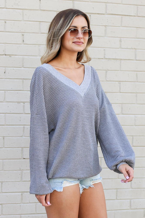 Grey - Oversized Waffle Knit Contrast Top Side View