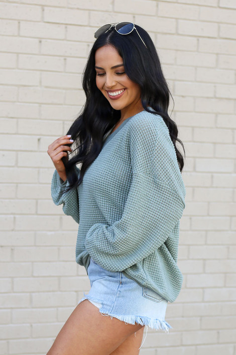 Sage - Oversized Waffle Knit Contrast Top Side View