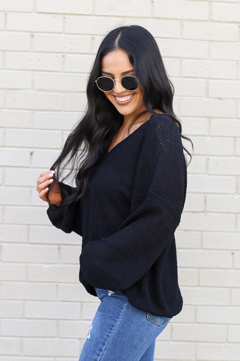 Black - Oversized Waffle Knit Contrast Top Side View