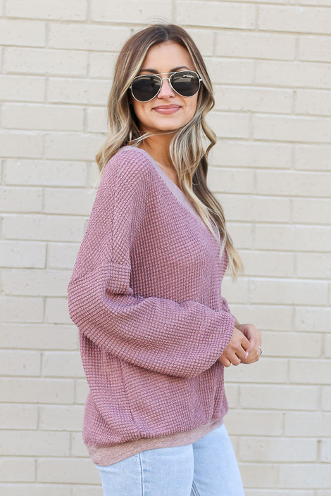 Model wearing the Oversized Waffle Knit Contrast Top in Burgundy Side View
