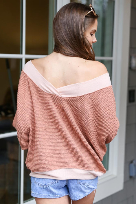 Oversized Waffle Knit Contrast Pullover Back View