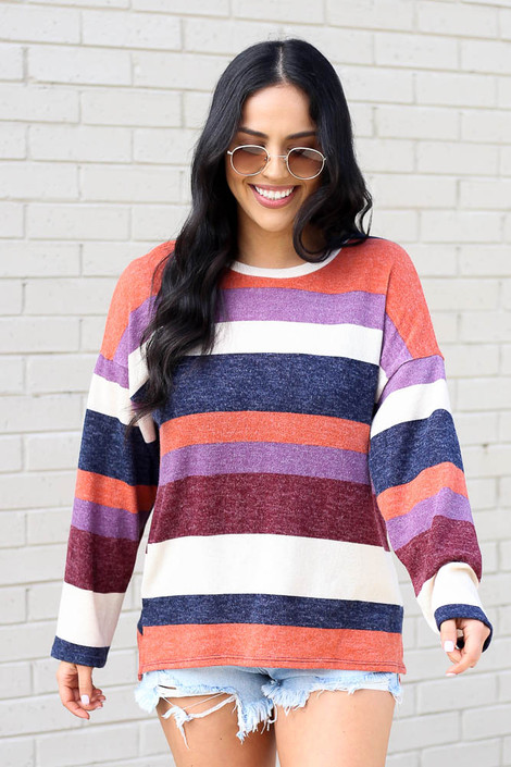 Rust - Striped Brushed Knit Top