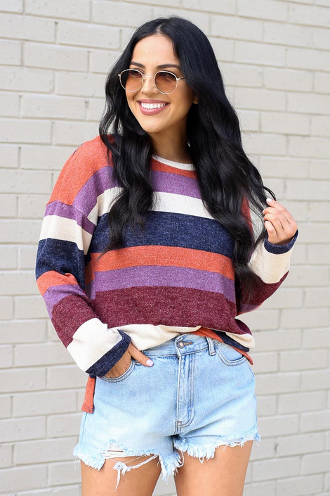 Rust - Striped Brushed Knit Top from Dress Up