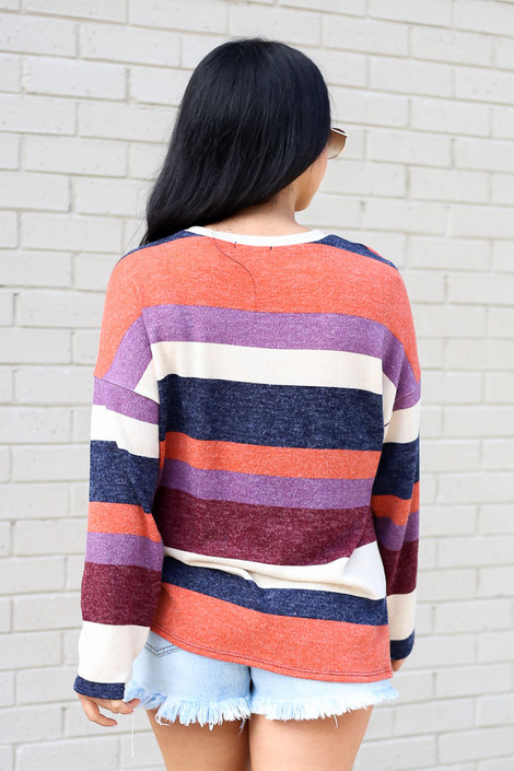 Striped Brushed Knit Top Back View
